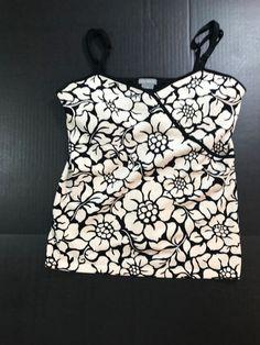 10762a5eb Ann Taylor Silk Blend Tank Top Sz M Floral Black & White Spaghetti  Strap 1054