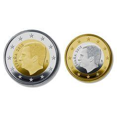 monedas euro serie España 2015 (moneda de 1 y 2 euros).