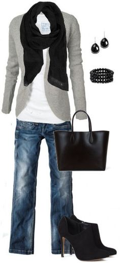 Black & Grey Comfy Outfit. So simple, yet so cute! Might mix up the scarf though....