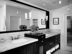 Swish Black Painted Double Vanity Bathroom Designs With White Porcelain Sink Top As Well As Wide Mirrored In Black And White Bathroom Ideas