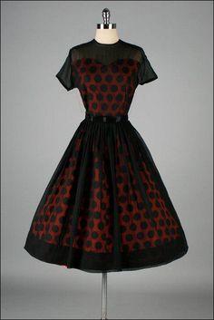 Vintage red black polka dot