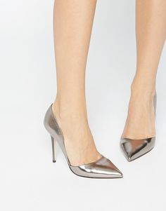 Lost | Lost Ink Pewter Two Part Court Shoes at ASOS
