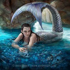 - Hidden Depths Mermaid Canvas Art Print by Anne Stokes (Canvas Art Prints) at Enchanted Jewelry & Gifts Anne Stokes, Mermaid Canvas, Mermaid Artwork, Fantasy World, Dark Fantasy, Fantasy Art, Magical Creatures, Fantasy Creatures, Sea Creatures