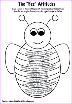 "The ""Bee"" Attitudes (Coloring) - Kids Korner - BibleWise Sunday School Kids, Sunday School Activities, Church Activities, Bible Activities, Bible Games, Kids Class, School Staff, Bible Crafts For Kids, Bible Study For Kids"