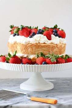 Mixed Berry angel food cake ! Perfect Easy Dessert for 4th of July