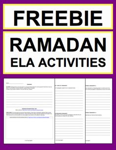 Ramadan Activities: Free Student Printables: Free NO PREP Ramadan student printables. Simply print, project & teach this RAMADAN!! File includes link to RAMADAN History & Traditions Article, Informational Reading Response, Expository Writing Prompt, Persuasive Writing Prompt, Creative Writing Prompt, Holiday Acrostic Poem and Holiday Word Search