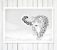Snow Leopard Illustration Print Animal Drawing Snow by lanakat Big Cat Tattoo, Jaguar, Leopard Tattoos, Snow Leopard, White Leopard, Line Art Tattoos, White Ink, Black And White, Modern Art Prints