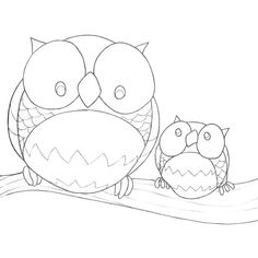 Big & little owl Colouring Pages, Printable Coloring Pages, Adult Coloring Pages, Coloring Books, Owl Patterns, Quilling Patterns, Embroidery Patterns, Bird Template, Felt Owls