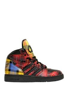 7b323dcd086 ADIDAS BY JEREMY SCOTT JS INSTINCT TECHNO TARTAN SNEAKERS ITEM CODE  57I-3EG011 Striped Shoes