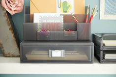 Make it modular with our Like-it® Desktop Collection! Organize all of your desktop accessories in one compact space without sacrificing storage!