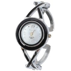 $4.77 XinHua 826 Quartz Watch with 4 Arabic Numbers and Mini Dots Indicate Steel Watch Band for Women - White