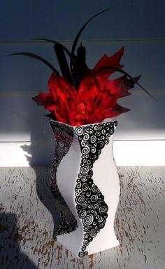 Beauty in Black by Trish M on Etsy Sharpie Crafts, Sharpie Art, Mason Jar Crafts, Mason Jars, Oil Based Sharpie, Ceramic Vase, White Ceramics, Beautiful Things, Vases