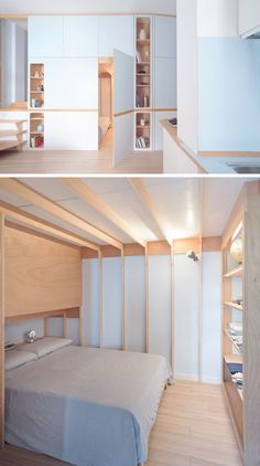 This small studio apartment has a custom designed plywood wall unit that has two sleeping areas and plenty of storage. Small Apartment Storage, Small Apartments, Small Spaces, Studio Apartment Design, Studio Apartment Decorating, Small Bedroom Designs, Small Room Design, Plywood Interior, Modern House Design