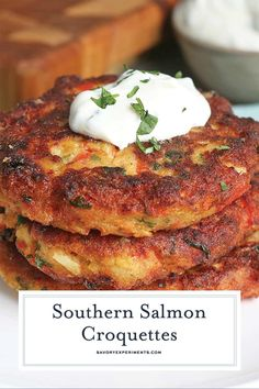 Southern Salmon Croquettes are a soul food classic! This easy recipe is taken up. - Southern Salmon Croquettes are a soul food classic! This easy recipe is taken up a notch with one S - Canned Salmon Patties, Fried Salmon Patties, Southern Salmon Patties, Canned Salmon Recipes, Salmon Patties Recipe, Fish Recipes, Seafood Recipes, Cooking Recipes, Jack Mackerel Patties Recipe