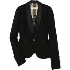 Burberry London Silk-blend crepe tuxedo jacket (264.520 CLP) ❤ liked on Polyvore featuring outerwear, jackets, blazers, burberry, black, crepe blazer, tailored blazer, fitted blazer and fitted jacket