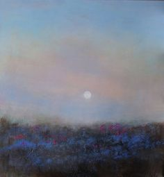 """""""Full Moon Rising -Bluebells and Campions at Sunset Nr Carn Gloose"""", original landscape painting by artist Chris Hankey  