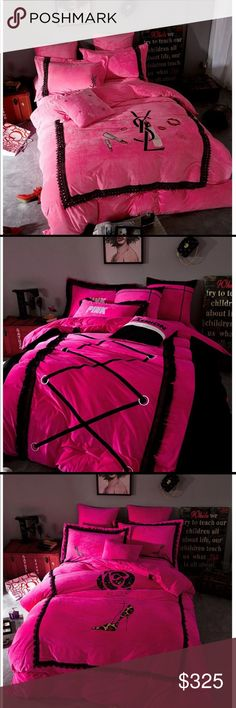 Vs Pink Inspired Comforter Collection 💕 VS pink bedding sets. 💕💕 Simply pick a design from pictures 1 -5 upon ordering💕💕 Sets come in Queen Size Only💕💕💕 Other