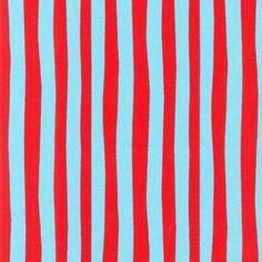 Dr Seuss Fabric - Blue & Red Stripe - Robert Kaufman - Cotton