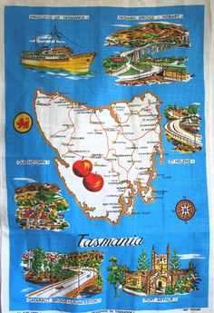 Tasmania Pure Irish Linen Souvenir Tea Towel - 60s Vintage Tasmanian Map Tourist Tea Towel - Australia - Made in Ireland by FunkyKoala on Etsy