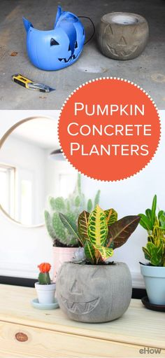 Make a modern pumpkin planter by filling a ubiquitous pumpkin candy bucket with cement mix and a plastic container and then waiting for the mixture to dry.  It's just the right amount of Halloween nostalgia and chic style. http://www.ehow.com/how_12343518_make-pumpkin-concrete-planters.html?utm_source=pinterest.com&utm_medium=referral&utm_content=freestyle&utm_campaign=fanpage