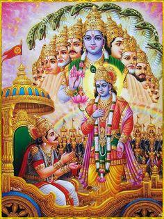 Krishna displaying His Universal Form, Vishva Swarup, to Arjuna while having the discussion known as Bhagavad Gita Shiva Art, Ganesha Art, Hindu Art, Shree Krishna Wallpapers, Shiva Lord Wallpapers, Lord Krishna Images, Krishna Photos, Krishna Pictures, Arte Krishna