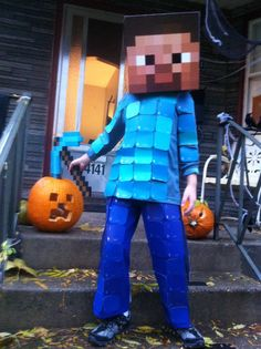 Minecraft Steve Costume. Behr paint swatches. Purim Costumes, Halloween Costumes For Teens, Baby Costumes, Halloween Kids, Halloween Themes, Halloween 2017, Costume Ideas, Halloween Decorations, Creeper Costume