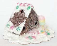 Vintage Putz Style Tiny Miniature Gingerbread Glitter Sugar House Pink Yellow Green Candies Ice Cream Lolli Christmas Village Tree Ornament by TheUglyDuckling1962 on Etsy