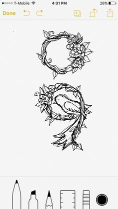 Another semicolon tattoo design that I like but not love lol it was fun to draw! Flower nature bird leaf vine tattoo If you use my design, please send me a pic! I would love to see and it would be an honor!