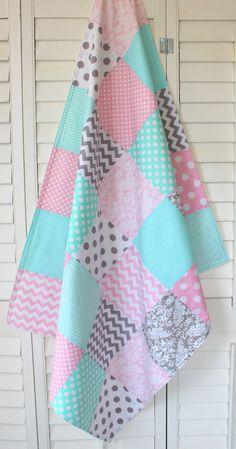 Baby Girl Blanket Nursery Decor Crib Blanket by theredpistachio