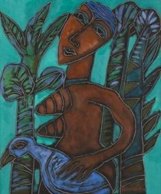 Jan Vermeiren - RED FIGURE AND BLUE BIRD, oil on... on MutualArt.com