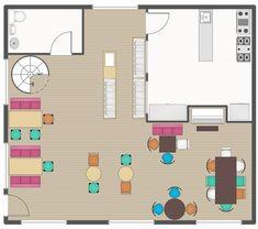 Cafe and Restaurant Floor Plans Cafe Floor Plan, Restaurant Floor Plan, Restaurant Layout, Deco Restaurant, Restaurant Design, Building Plans, Building Design, Mini Cafe, Container Restaurant