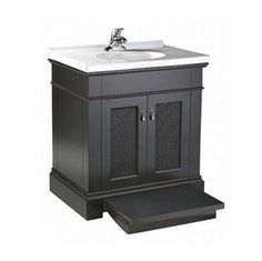 American Standard Generations 30-inch black vanity with pull out step for kids