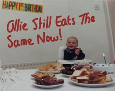 Aww what a sweet, chubby, rosy cheeked baby our Ollie was! Shame his diet hasn't changed that much!!! Or his ruddy cheeks, or his enthusiasm for food!!!!! SD #cake #lovefood #birthday