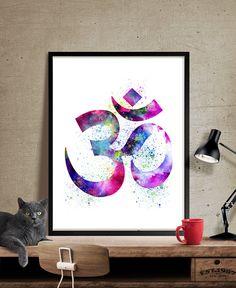 Yoga Art Print, Yoga Artwork, Om Symbol Yoga Art, Watercolor Yoga Art, Buddha Art,Wall Art Print Watercolor, Yoga Poster  (34)