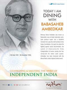 Bhimrao Ramji Ambedkar also known as Babasaheb, was an Indian nationalist, jurist, dalit political leader. He was honoured with the Bharat Ratna, India's highest civilian award.