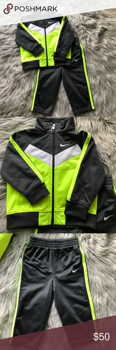 Nike matching set for 12m boys Nike matching set for little boys. Grey/white/neon green. Comes in size 12m. Nike Matching Sets