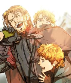 LotR - Boromir with Merry and Pippin