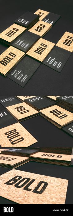 Tarjetas BOLD 2013. Contracolado de papel de corcho y cartulina Fedrigoni Sirio negra 700 gr. Serigrafia sobre el papel de corcho y stamping sobre cartulina negra. | #Business #Card #letterpress #creative #paper #bizcard #businesscard #corporate #design #visitenkarte #corporatedesign < found on www.adsoftheworld.com pinned by www.BlickeDeeler.de | Have a look on www.LogoGestaltung-Hamburg.de Premium Business Cards, Cool Business Cards, Creative Business, Corporate Design, Branding Design, Professional Business Card Design, Professional Logo, Bussiness Card, Name Cards