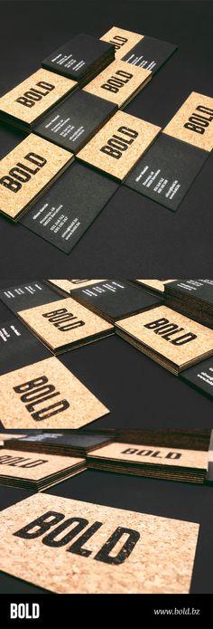 Tarjetas BOLD 2013. Contracolado de papel de corcho y cartulina Fedrigoni Sirio negra 700 gr. Serigrafia sobre el papel de corcho y stamping sobre cartulina negra.