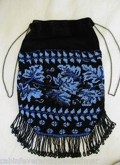 Antique Victorian Edwardian Black Blue Floral Leaf Micro Beaded Reticule Purse