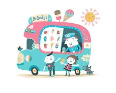 Mr Rooty's Ice-cream Van! Yummy limited edition print from Rootytoot Editions