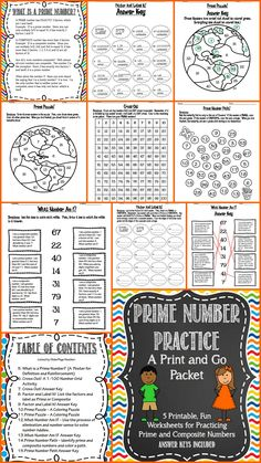 Prime Number Practice - A Print and Go Worksheet Packet.  Includes Poster, What Number Am I?, Cross-Out, Factor and Label It!, Prime Puzzle, and Prime Number Path.  Answer keys included!  Great for Math Centers, seatwork, homework, test prep!  So easy!