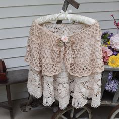 Bridal Cape Mother of Bride Shawl Evening Cape Lace Shawl Tea Stained Layered  made from Fine Vintage Laces Fancy Shawl Lace Cape Shabby by auntcarriesattic on Etsy https://www.etsy.com/listing/477775441/bridal-cape-mother-of-bride-shawl