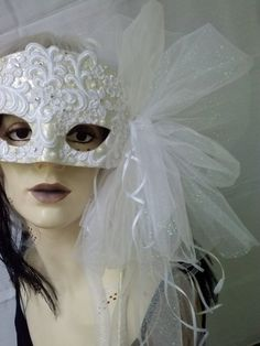 Mask Halloween VENETIAN Masquerade Carnevale Renaissance Carnival Victorian WEDDING Bridal Whimsical Bride Crystal Party OOAK Handle White on Etsy, $115.00