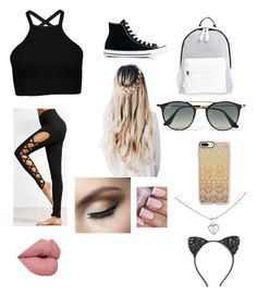 """""""School outfit"""" by dorothyangel on Polyvore featuring Converse, Poverty Flats, Ray-Ban, Casetify, Cara and Cartier"""