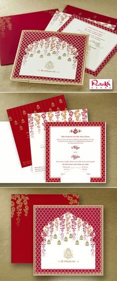 This beautiful traditional Indian invitation card is made from high-quality Ivory Cream textured paper board with matching mailing envelope with options of 3 different colorful inserts inside. Card front has beautiful floral design decorated with Bell which is outlined with golden foil. Ganesh on the front of the card is printed in Gold gives stunning look.