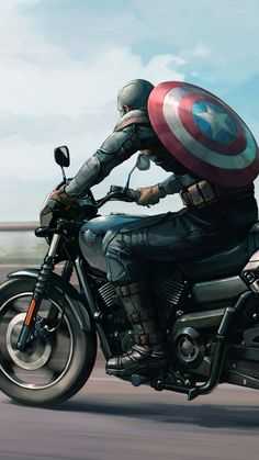Captain America on Harley Davidson Motorcycle Artwork, HD Superheroes Wallpapers Photos and Pictures