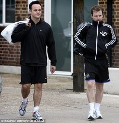 Nice handbags boys! Ant and Dec show off designer totes after gym workout