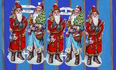 5 Vintage Mid Century Santa Die Cut Scraps by TheVintageCat1920,
