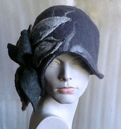Grey Felted  Hat felt hat Cloche Hat Fapper 1920 Hat Art  Gray Hat Cloche Victorian 1920's  Wool Women's hat by Feltpoint on Etsy